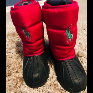 Pink girls polo boots